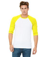 Bella + Canvas Unisex 3/4-Sleeve Baseball T-Shirt 3200