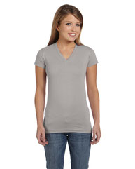 LAT Ladies' Junior Fit V-Neck T-Shirt 3607