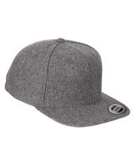 Yupoong Adult 6-Panel Melton Wool Structured Flat Visor Classic Snapback Cap