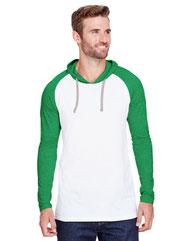 LAT Men's Hooded Raglan Long Sleeve Fine Jersey T-Shirt