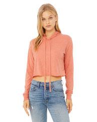 Bella + Canvas Ladies' Cropped Long Sleeve Hoodie T-Shirt 8512