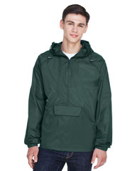 UltraClub Adult Quarter-Zip Hooded Pullover Pack-Away Jacket 8925