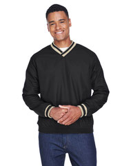UltraClub Adult Long-Sleeve Microfiber Crossover V-Neck Wind Shirt 8926