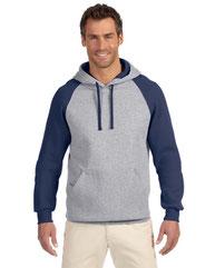 Jerzees Adult 8 oz. NuBlend® Colorblock Raglan Pullover Hood