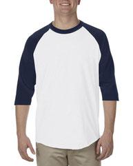Alstyle Adult 6.0 oz., 100% Cotton 3/4 Raglan T-Shirt AL1334