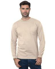 Bayside Unisex Union-Made Long-Sleeve Pocket Crew T-Shirt BA3055