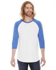 American Apparel Unisex Poly-Cotton 3/4-Sleeve Raglan T-Shirt BB453W