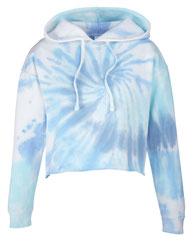 Tie-Dye Ladies' Cropped Hooded Sweatshirt CD8333