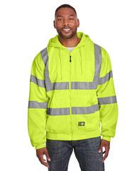 Berne Men's Berne Hi-Vis Class 3 Lined Full-Zip Hooded Sweatshirt