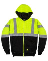Berne Men's Hi-Vis Class 3 Color Block Full-Zip Hooded Sweatshirt