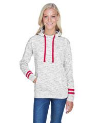J America Ladies' Melange Scuba Neck Sweatshirt JA8674