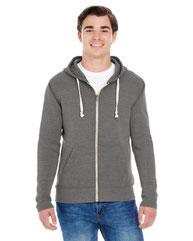 J America Adult Triblend Full-Zip Fleece Hood JA8872