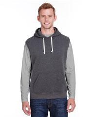 J America Adult Triblend Fleece Sleeveless Hooded Sweatshirt JA8877