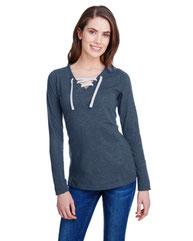 LAT Ladies' Long Sleeve Fine Jersey Lace-Up T-Shirt LA3538