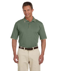Harriton Adult 6 oz. Short-Sleeve Piqué Polo with Tipping M210