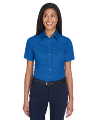 Harriton Ladies' Easy Blend™ Short-Sleeve Twill Shirt withStain-Release M500SW