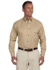 Harriton Men's Tall Easy Blend™ Long-Sleeve Twill Shirt with Stain-Release M500T