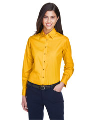Harriton Ladies' Easy Blend™ Long-Sleeve TwillShirt with Stain-Release M500W