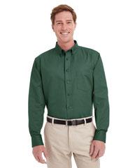 Harriton Men's Foundation 100% Cotton Long-Sleeve Twill Shirt withTeflon™ M581