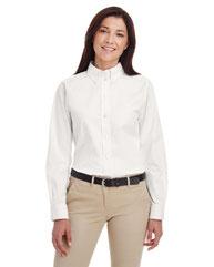 Harriton Ladies' Foundation 100% Cotton Long-Sleeve Twill Shirt withTeflon™ M581W