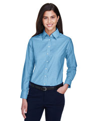 Harriton Ladies' Long-Sleeve Oxford with Stain-Release M600W