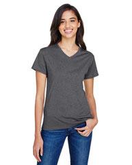 A4 Ladies' Topflight Heather V-Neck T-Shirt