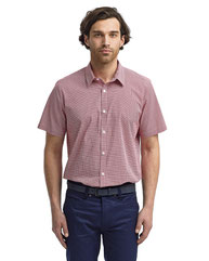 Artisan Collection by Reprime Mens Microcheck Gingham Short-Sleeve Cotton Shirt RP221