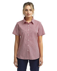 Artisan Collection by Reprime Ladies' Microcheck Gingham Short-Sleeve Cotton Shirt RP321