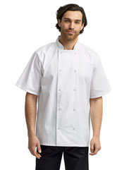 Artisan Collection by Reprime Unisex Studded Front Short-Sleeve Chef's Coat RP664