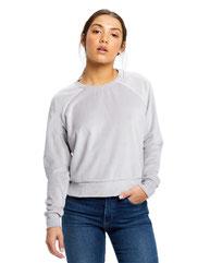 US Blanks Ladies' Velour Long Sleeve Crop T-Shirt US538
