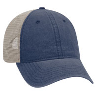 """""""OTTO COMFY FIT"""" Washed Pigment Dyed Cotton Twill 6 Panel Low Profile Mesh Back Trucker Hat"""