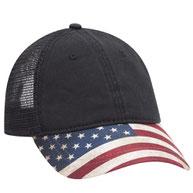 American Flag Visor Garment Washed Superior Soft Mesh Back Cotton Twill Cap