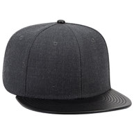 Wool Blend Flat Leather Visor Pro Style Snapback Caps