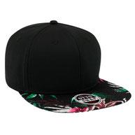 Superior Cotton Twill with Hawaiian Pattern Square Flat Visor Pro Style Snapback Cap