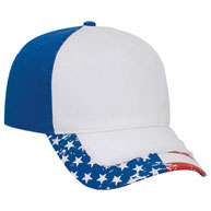 US Flag Pattern Distressed Visor Superior Garment Washed Cotton Twill w/ Heavy Stitching Low Profile