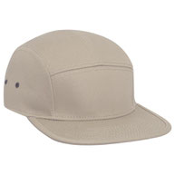 Superior Cotton Twill Square Flat Visor with Binding Edge Five Panel Camper Style Caps