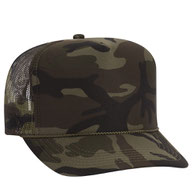 Camouflage Polyester Foam Front High Crown Golf Style Mesh Back Caps