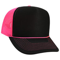 Neon Polyester Foam Front High Crown Golf Style Mesh Back Caps