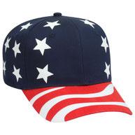 United States Flag Pattern Cotton Twill Pro Style Cap