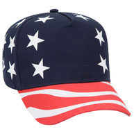 United States Flag Pattern Cotton Twill Low Crown Golf Style Cap