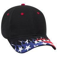 United States Flag Flame Pattern Visor Brushed Cotton Twill Low Profile Pro Style Caps