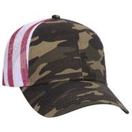 American Flag Mesh Back Cotton Twill Six Panel Low Profile Cap