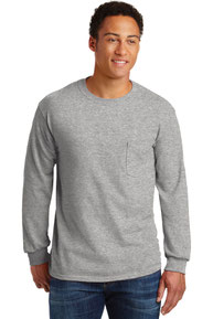 Gildan ®  - Ultra Cotton ®  100% Cotton Long Sleeve T-Shirt with Pocket.  2410
