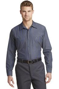 Red Kap ®  - Long Sleeve Striped Industrial Work Shirt.  CS10