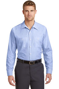 Red Kap ®  Long Size, Long Sleeve Striped Industrial Work Shirt. CS10LONG