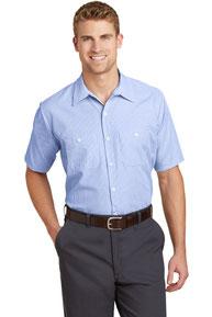 Red Kap ®  - Short Sleeve Striped Industrial Work Shirt.  CS20