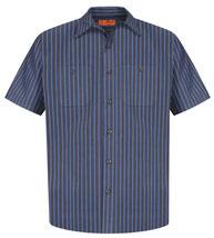 Red Kap ®  Long Size, Short Sleeve Striped Industrial Work Shirt. CS20LONG