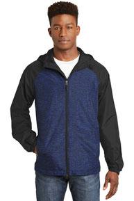 Sport-Tek ®  Heather Colorblock Raglan Hooded Wind Jacket. JST40