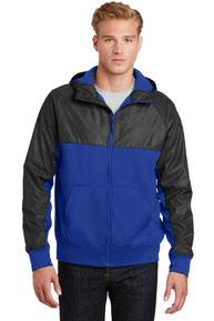 Sport-Tek ®  Embossed Hybrid Full-Zip Hooded Jacket. JST50