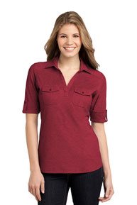 DISCONTINUED  Port Authority ®  Ladies Oxford Pique Double Pocket Polo. L557